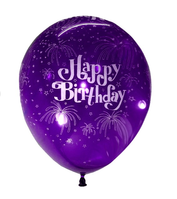 Happy B'day With Fireworks Latex Balloons (Purple) - Pack of 5