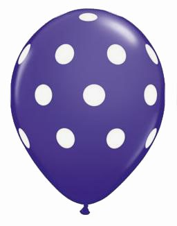 Polka Dots Latex Balloons (Purple) - Pack of 5 - 18""