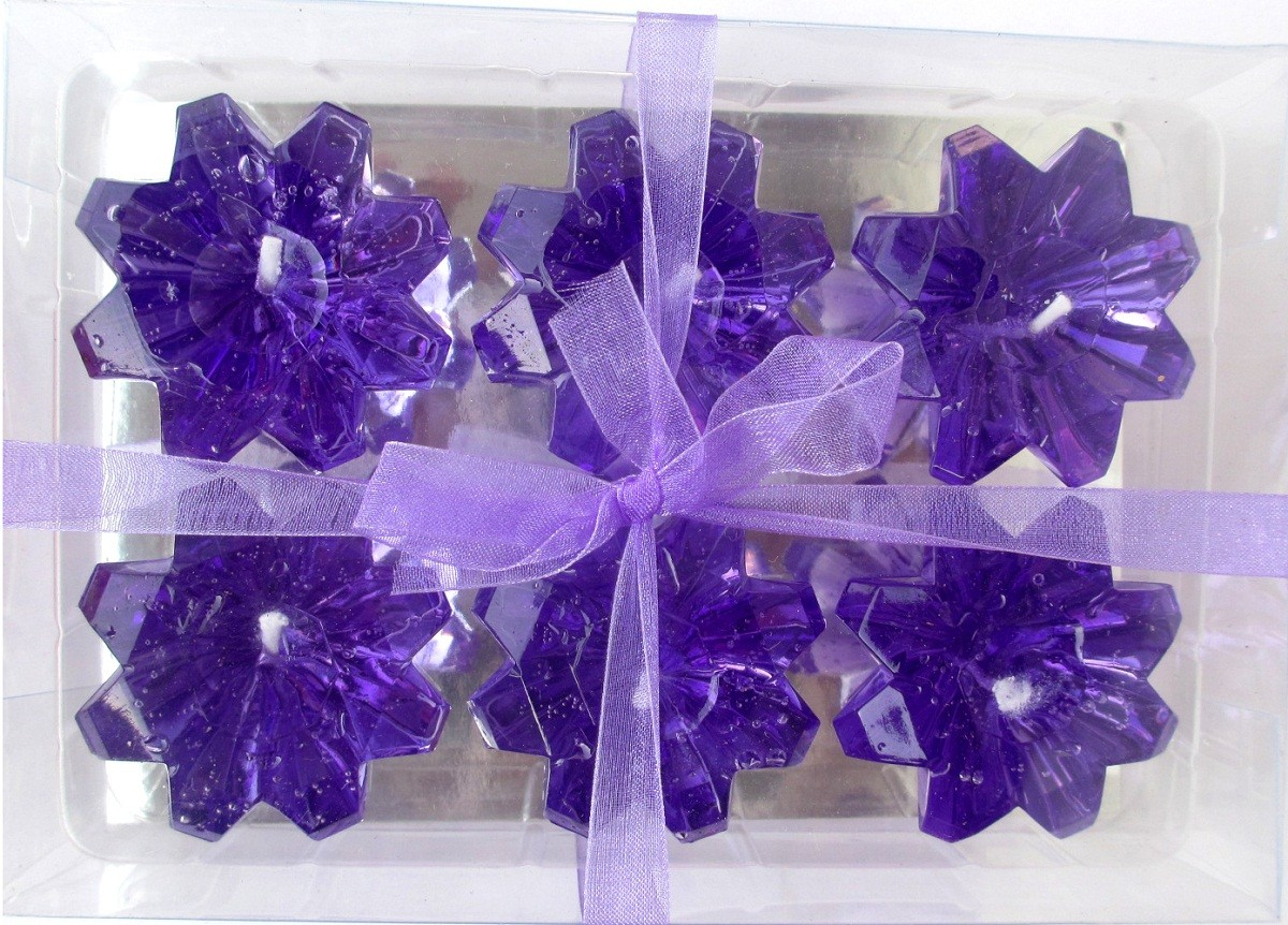 Purple Diamond Shaped Floating Candles (Pack of 6)