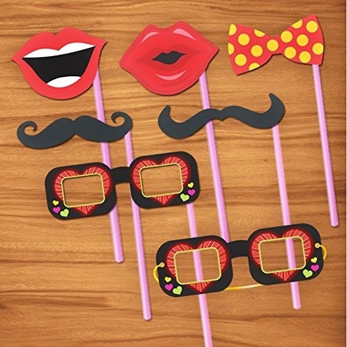 Photo Booth Funny Party Props- Set of 24 Pcs, Multicolor