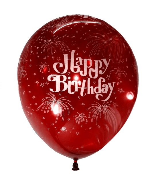 Happy B'day With Fireworks Latex Balloons (Red) - Pack of 5