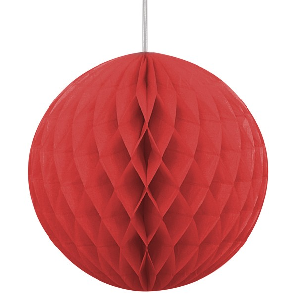 Red Honeycomb Tissue Balls (Pack Of 2) - 12""