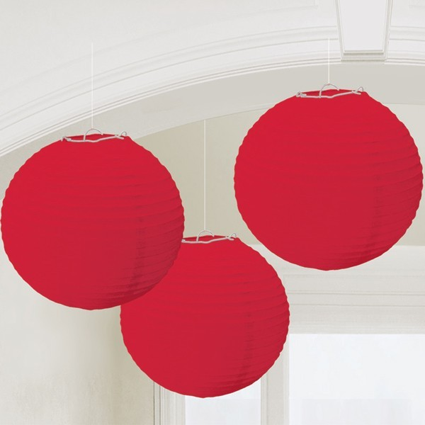 16 inch Even Round Red Paper Lanterns  (Pack Of 3)