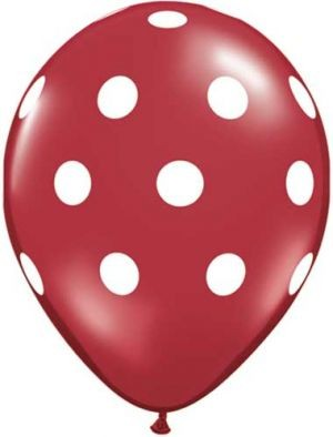Polka Dots Latex Balloons (Red) - Pack of 5 - 18""
