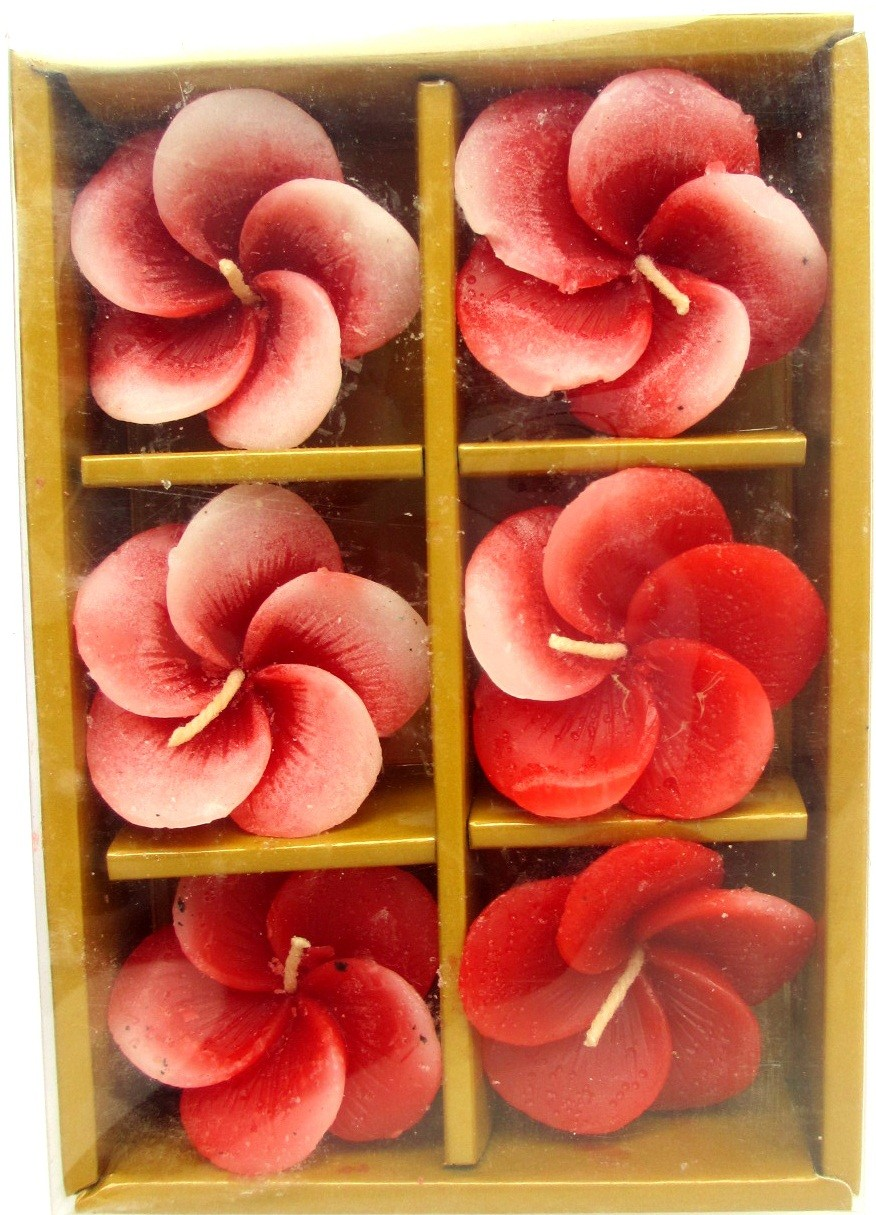 Red Flower Floating Candles (Pack of 6),