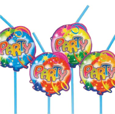 Balloon Party Straws -Pack of 10