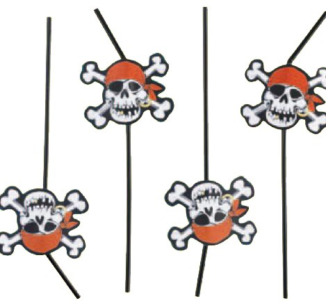 Jolly Roger Pirate Party Straws -Pack of 8