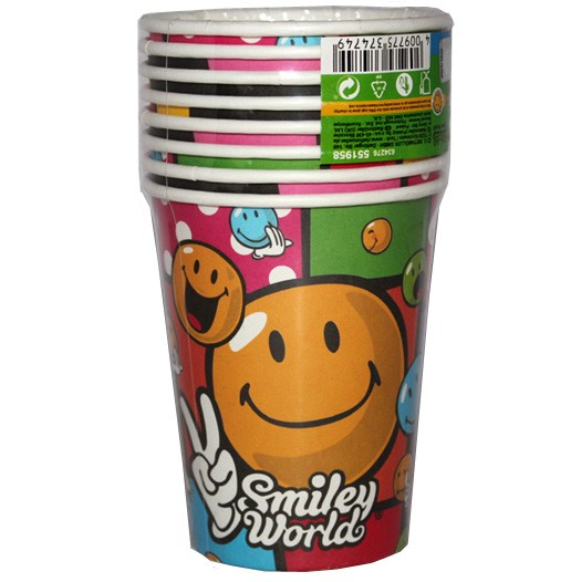 Smiley World Party Paper Cups(Pack Of 8)