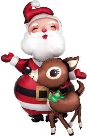 Santa with Reindeer Shape Foil Balloon Combo Pack