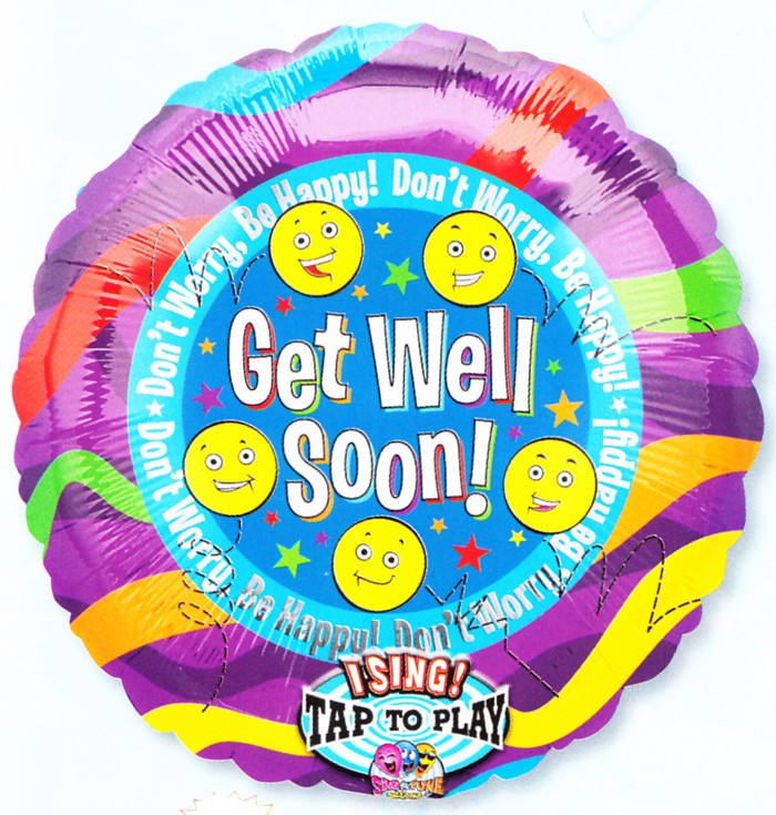 Get Well Soon Singing Foil Balloon