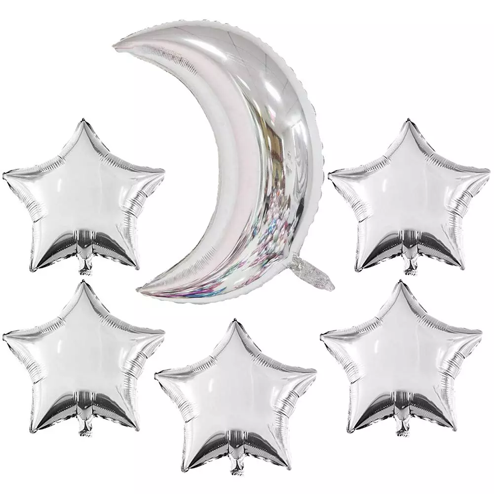 """Silver Star & Moon Foil Balloon 24"""" (Pack of 6)"""