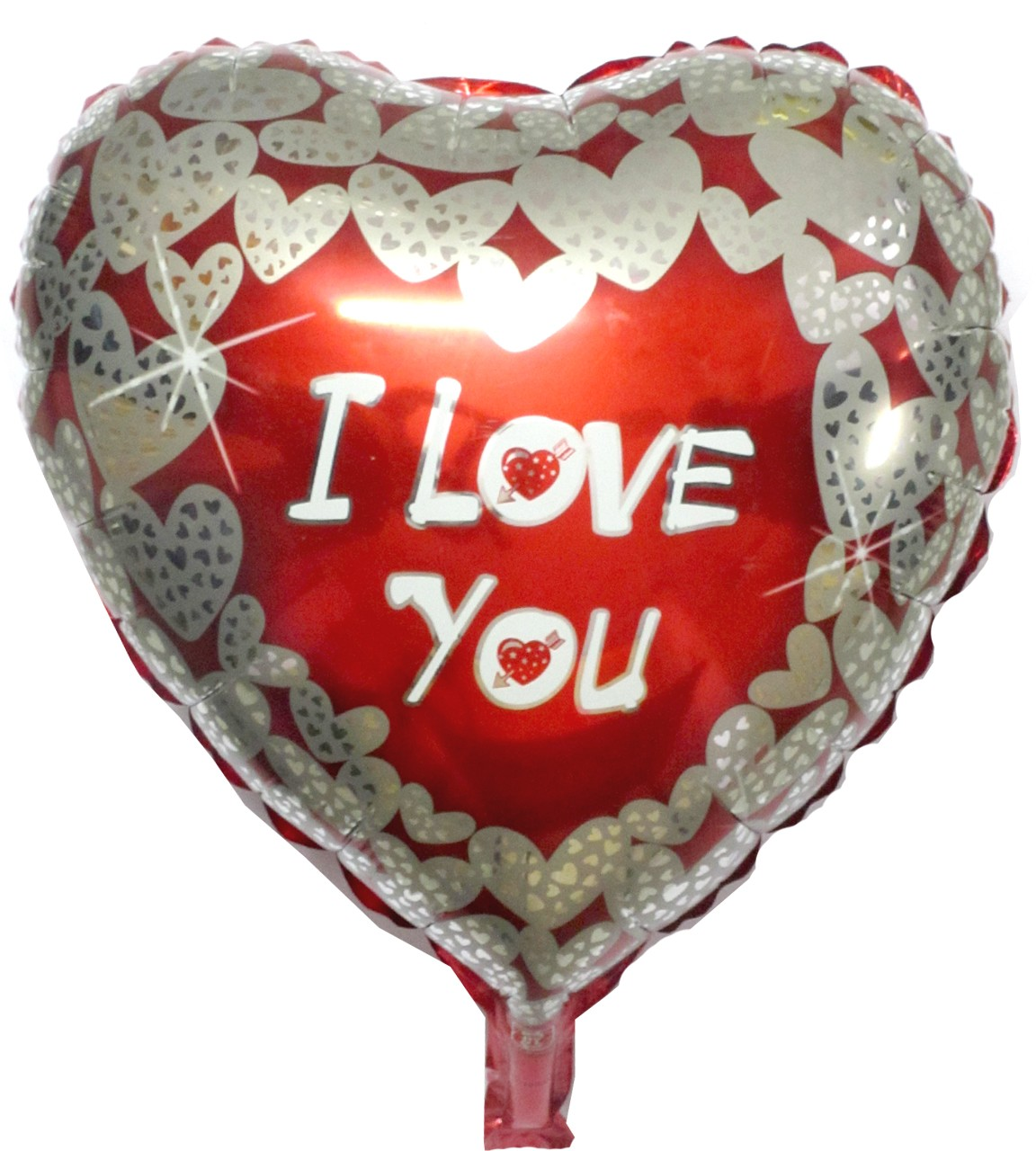 """Heart Shaped Silver Hearts Printed I Love You Foil Balloon - 18"""""""