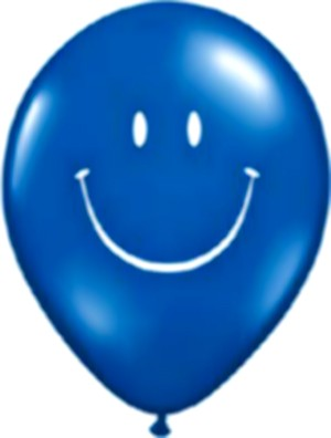 Smiley Face Latex Balloons (Blue) - Pack of 5