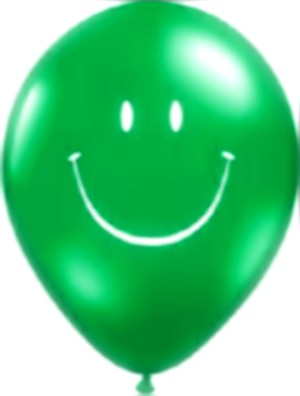 Smiley Face Latex Balloons (Green) - Pack of 5