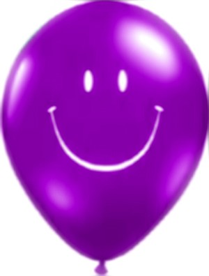 Smiley Face Latex Balloons (Purple) - Pack of 5