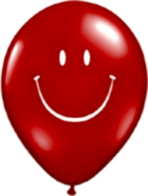 Smiley Face Latex Balloons (Red) - Pack of 5