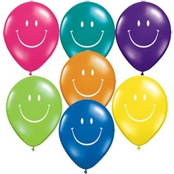 Smiley Face Latex Assorted Balloons (Pack Of 5)
