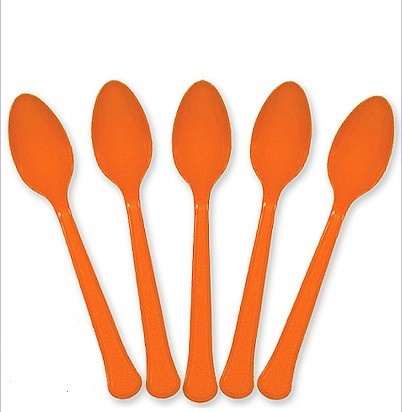 Solid Orange Plastic Party Spoons (Pack Of 24)