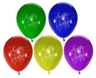 Stylish Happy B'day Assorted Latex Balloons - Pack of 5