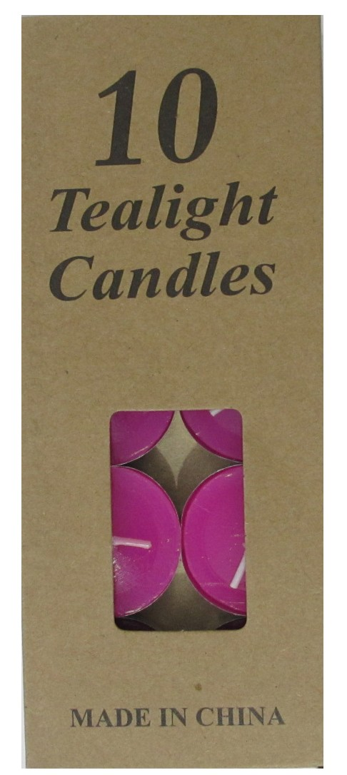 Tea Light Candles - Magenta (Pack of 10)