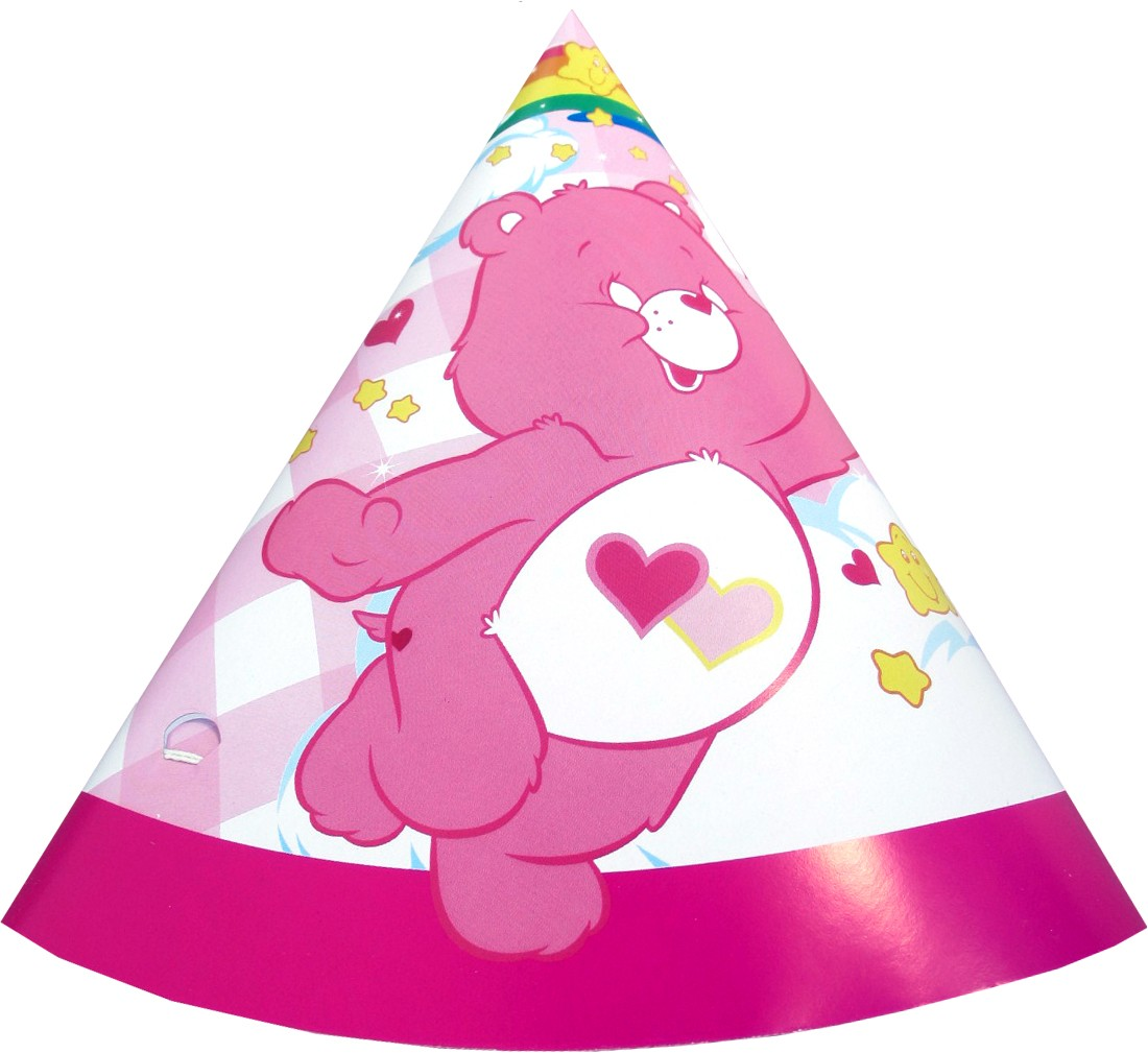 Happy Birthday Teddy Bear Cone Hats - Pink (Pack of 10)