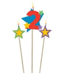 Number 2 Candle and Stars on Stick