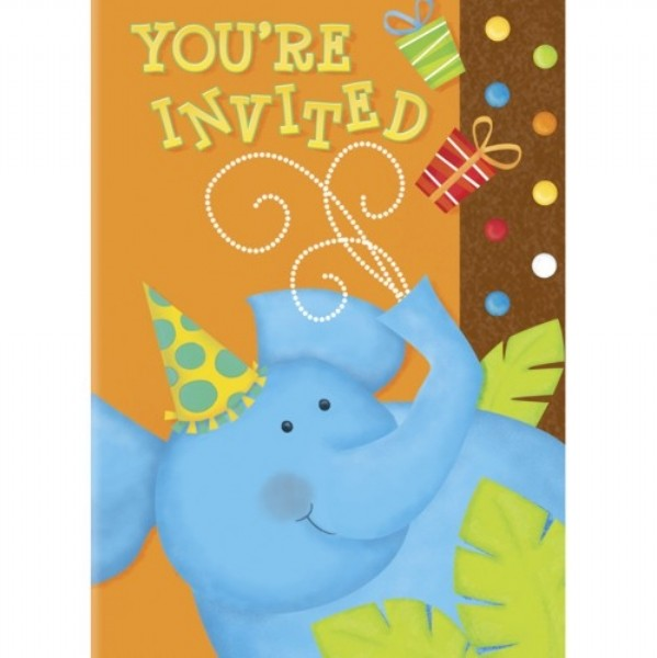 Cute Jungle You're Invited Invitation Cards (Pack of 8)