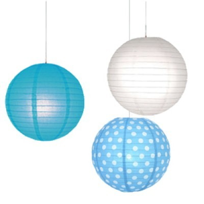 Cool Turquoise Polka Dots Paper Lantern (Pack Of 3)