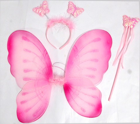 Pink Butterfly Wings, Wand And Head Boppers Set