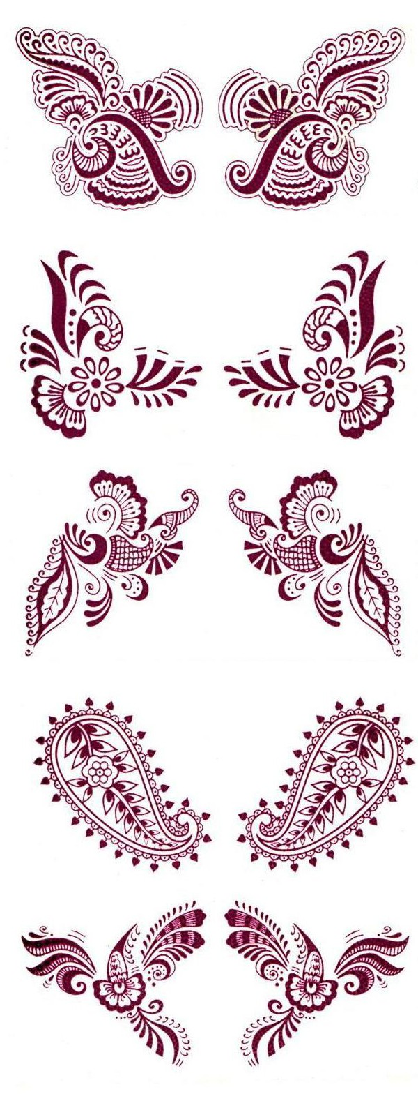 Water Transfer Maroon Temporary Tattoos (5 Sets) - 1