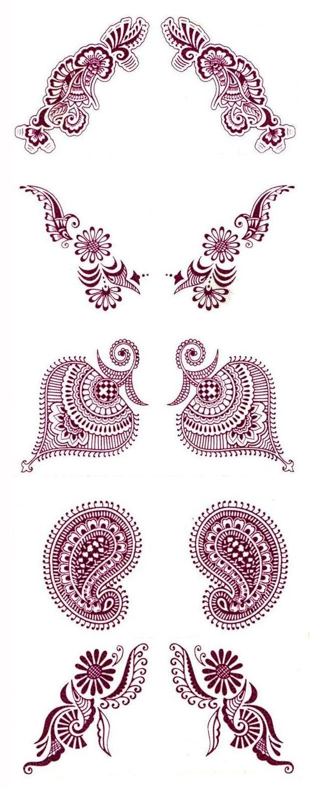Water Transfer Maroon Temporary Tattoos (5 Sets) - 2