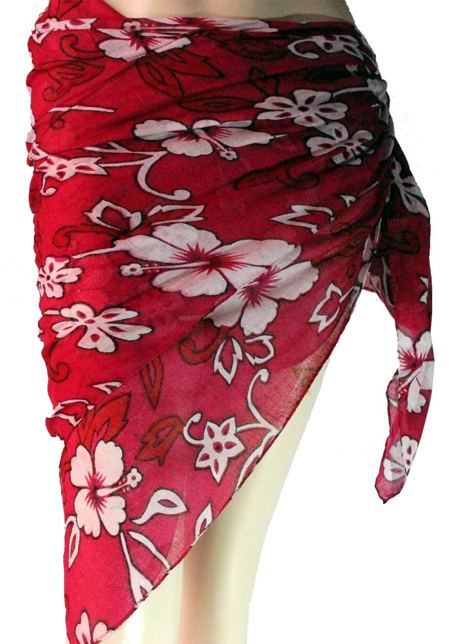 White Flowers And Leaves Print Red Sarong