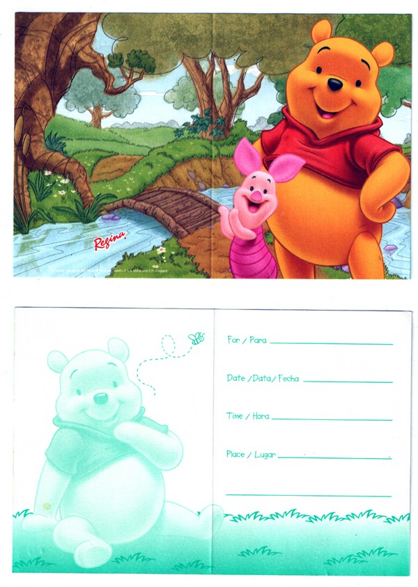 Winnie the Pooh Invitation Cards -Pack of 8