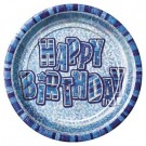 Glitz Birthday Premium Paper Plates (Blue) - Pack Of 8
