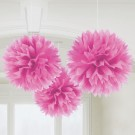 Caribbean Fluffy Decorations 16in-Pack of 3 (Magenta)
