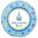 1st Birthday Cup Cake Boy Foil Balloon