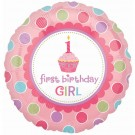1st Birthday Cup Cake Girl Foil Balloon