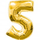 Golden Number 5 Foil Balloon - 24""
