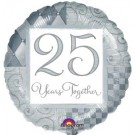 Silver  25 Years Together Anniversary Foil Balloon