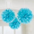 Caribbean Fluffy Decorations 16in-Pack of 3 ( Electric Blue )
