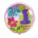1st Birthday Girl Foil Balloon - 18in