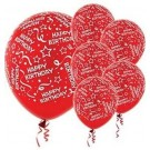Happy B'day With Frills Latex Balloons (Red) - Pack of 5