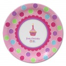 1st Birthday Cupcake Girl Party Paper Plates (Pack Of 18)