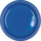 Solid Royal Blue Plastic Dinner Plates ( Pack Of 20)