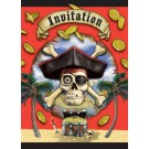 Pirate Party Invitation Cards With Envelopes (Pack of 8)