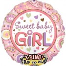 Sweet Baby Girl Singing Foil Balloon - 28""