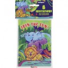Smiling Safari Invitation Cards With Envelopes (Pack Of 8)