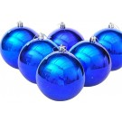 Blue Plain & Polka Christmas Decorative Balls (Pack Of 20)