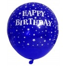 Happy B'day With Stars Latex Balloons (Blue) - Pack Of 5