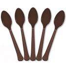 Solid Chocolate Brown Plastic Party Spoons (Pack Of 24)